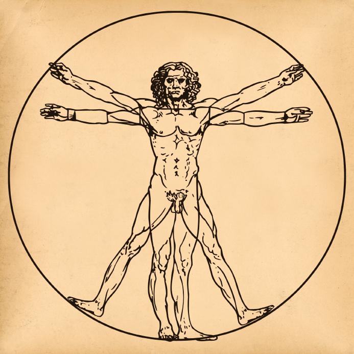 Old aged paper with medical symbol of vitruvian man by Leonardo da Vinci